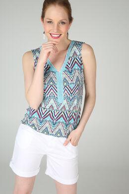 T-shirt met een frontjeskraag van kralen, Turquoise