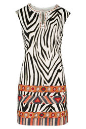 Jurk met zebra- en etnische print By Derhy