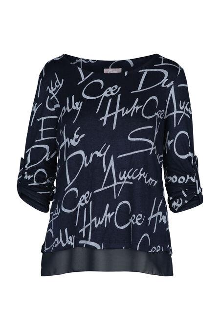 T-shirt bedrukt met woorden - Marineblauw