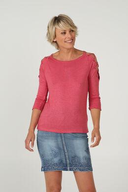T-shirt met rijglinten en ringetjes aan de schouders, Framboos