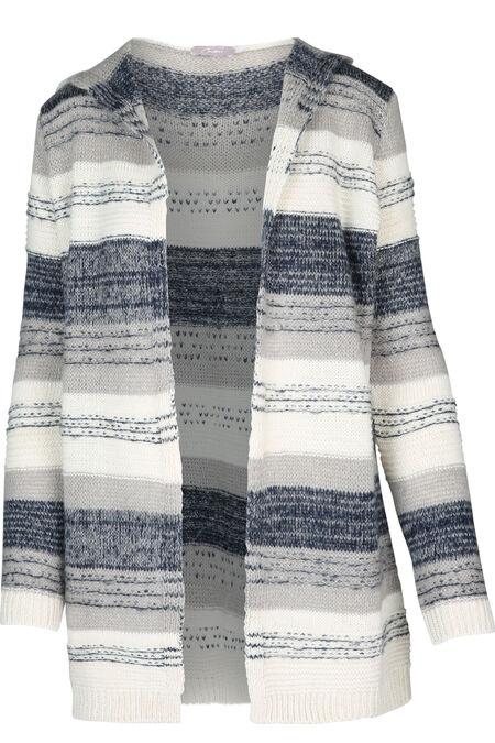 Lange, gestreepte cardigan - Marineblauw