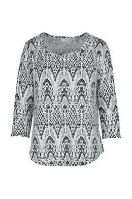 Bedrukte bloes, Zwart/Ecru