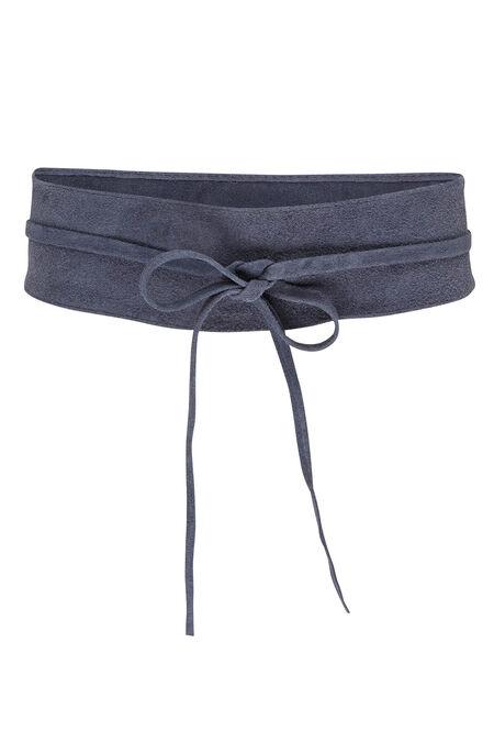 Brede riem in daim - Marineblauw