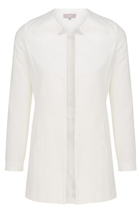 Lange jas in minimalistische jacquard - Ecru