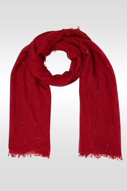Effen en gestreepte foulard met lovertjes, Framboos