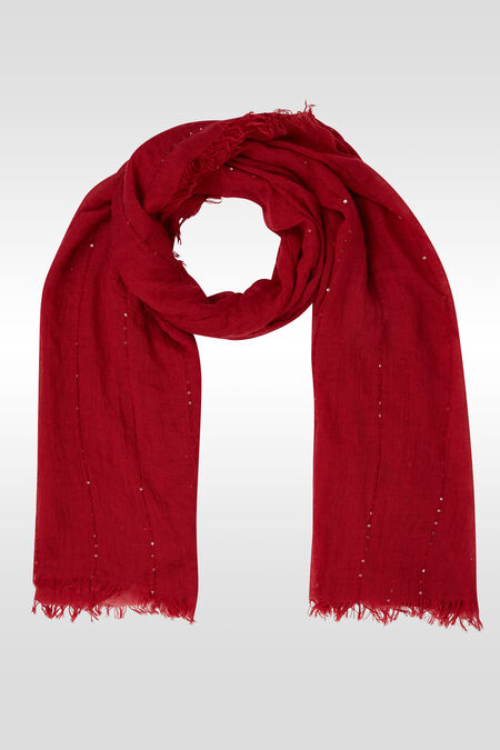 Effen en gestreepte foulard met lovertjes - Framboos