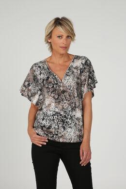 T-shirt met zilverkleurige lovertjes, Zwart/Ecru