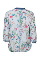 Gestreepte bloes met bloemenprint, Blauw