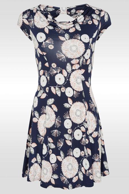 Luchtig kleedje met watervalkraag en strik op de rug - Marineblauw