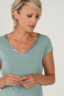 T-shirt uni avec encolure en V orné de sequins, aqua