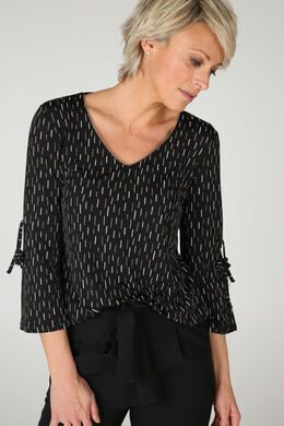 T-shirt maille froide imprimé, Noir/Taupe