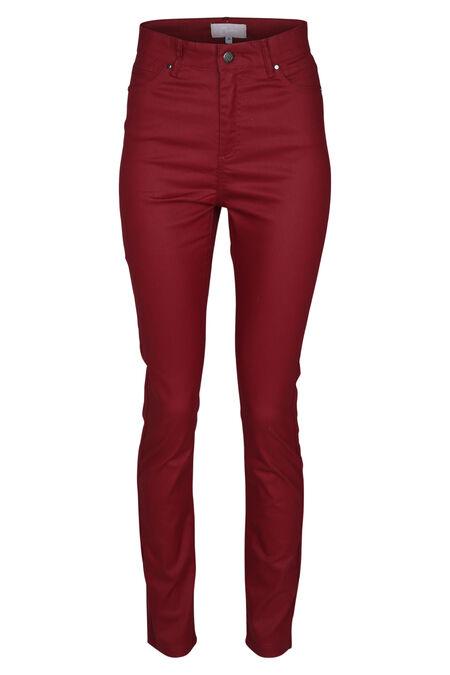 Pantalon en enduit taille haute - Bordeaux