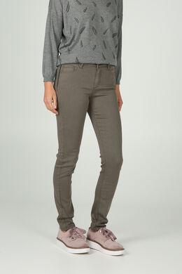 Pantalon détails cuir, Kaki