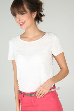 T-shirt met volants, Ecru