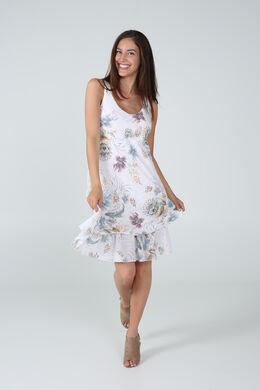 Robe en gaze de lin imprimé de fleurs, Blanc
