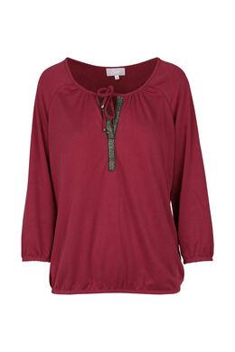 T-shirt met Tunesische hals, Terracotta