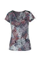 T-shirt met bladprint en watervalkraag, Framboos