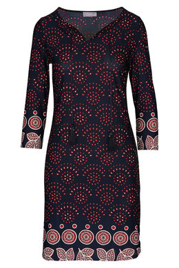 Bedrukte jurk met pompons, Marineblauw