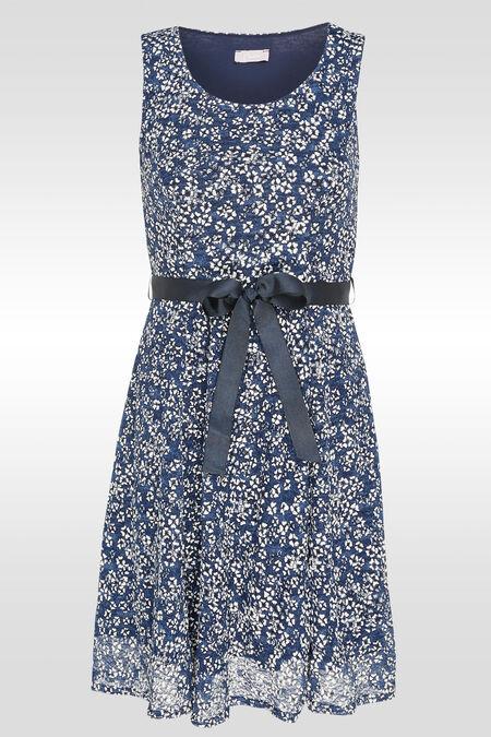 Mouwloze jurk met bloemetjesprint - Indigo