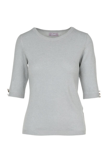 Pull en maille manches 3/4 - Gris