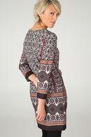 Jurk in bedrukt tricot, Camel