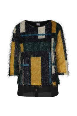 Pluizige trui met kleurenblokken, Oker