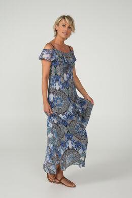 Longue robe en voile imprimé, Bleu