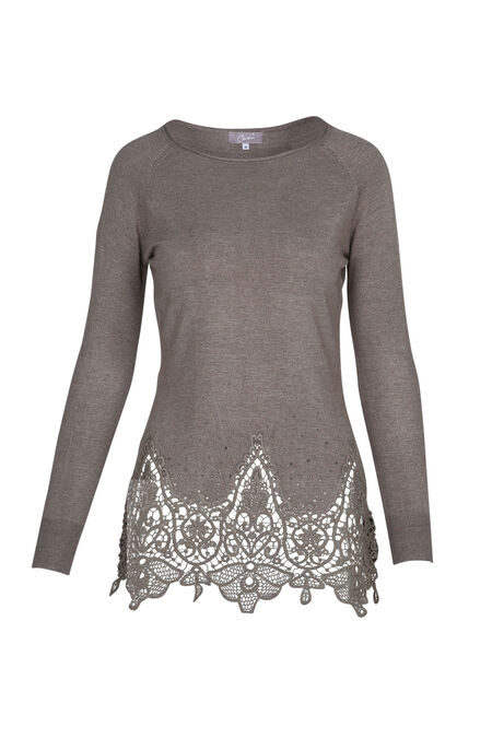 Pull tunique dentelle et strass - Taupe