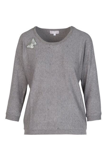 Pull patch papillon - Gris