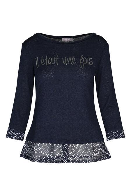 T-shirt 2-in-1 'Il était une fois' - Marineblauw