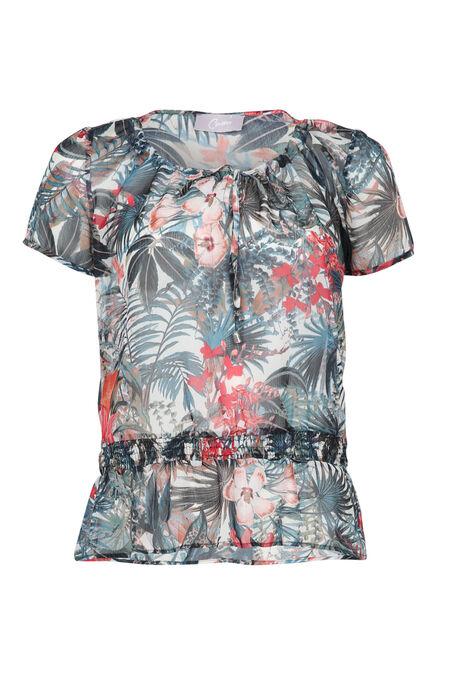 T-shirt imprimé de feuilles et fleurs - Framboise
