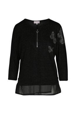 T-shirt maille chaude brillante, Noir