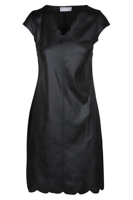Robe effet suédine encolure festonnée - Noir