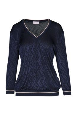 T-shirt met ribboord, Marineblauw