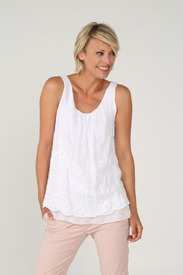 Top broderies et sequins, Blanc