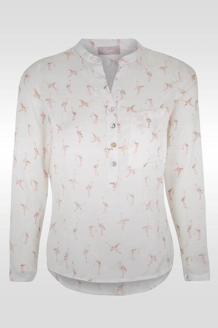 Soepele bloes met flamingo's - Ecru