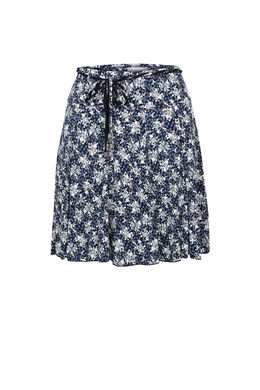 Soepele rok met libertyprint, Marineblauw