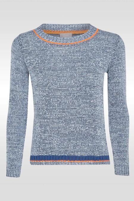 Trui in gevlamd tricot - Blauw