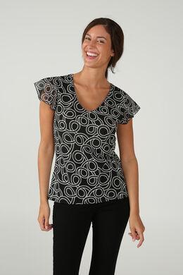 T-shirt met print en volantmouwen, Zwart/Ecru