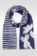 Foulard met een patchwork van bloemen en strepen, Marineblauw