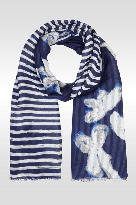 Foulard met een patchwork van bloemen en strepen - Marineblauw