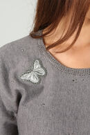 Pull patch papillon, Gris