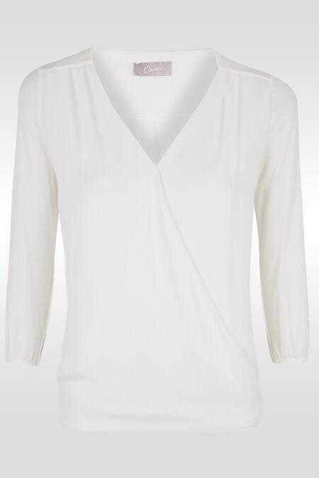 Wikkel-T-shirt in twee stoffen - Ecru