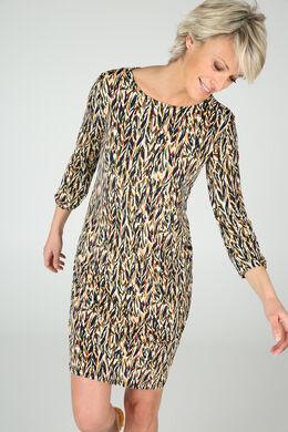 Bedrukte jurk in soepel tricot, Oker