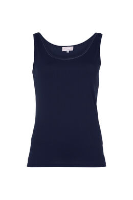 Effen top, Marineblauw