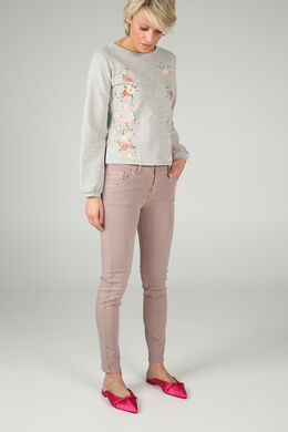 Sweater met bloemenprint, Gris Chine