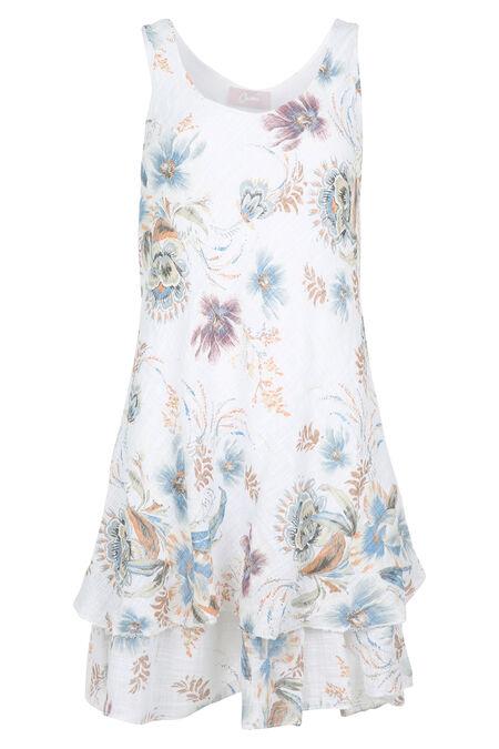 Robe en gaze de lin imprimé de fleurs - Blanc