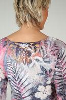 T-shirt imprimé de feuilles, aqua