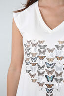 T-shirt met vlinderprint, Ecru