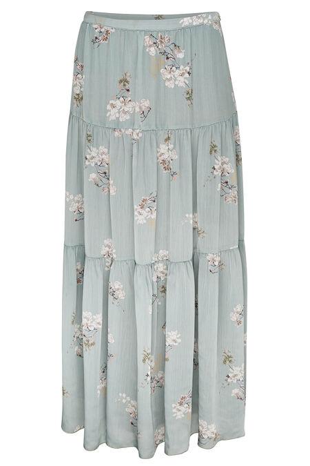 Lange rok met Japanse print - Amandelgroen